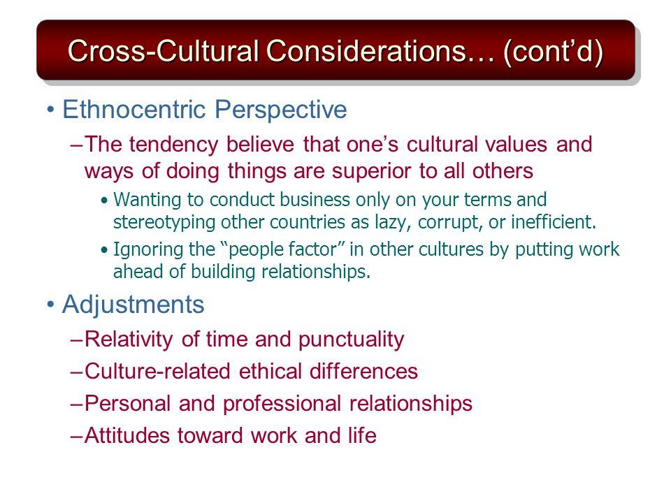 Cross-Cultural Considerations… (cont'd)
