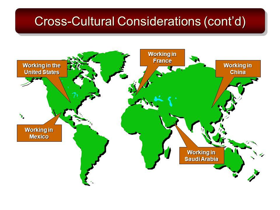 Cross-Cultural Considerations (cont'd)
