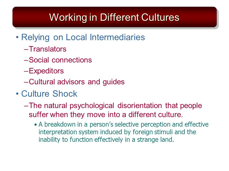 Working in Different Cultures