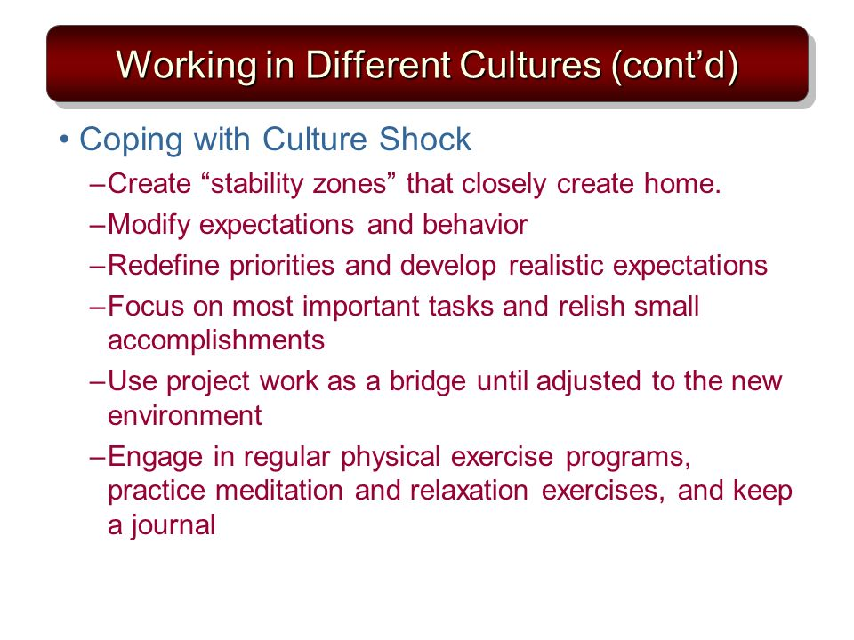 Working in Different Cultures (cont'd)