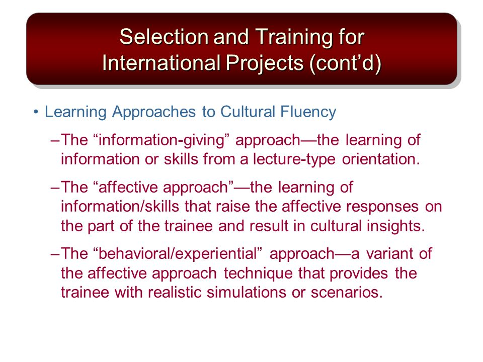 Selection and Training for International Projects (cont'd)