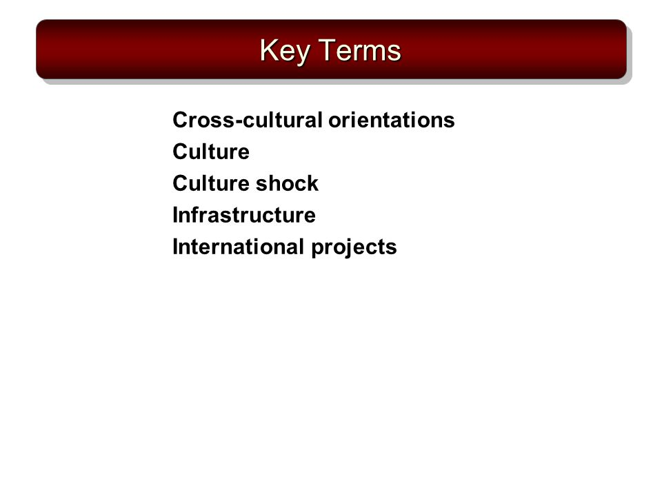Key Terms Cross-cultural orientations Culture Culture shock