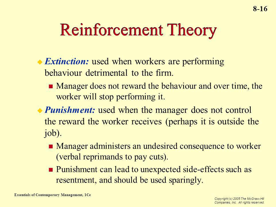 Reinforcement Theory Extinction: used when workers are performing behaviour detrimental to the firm.