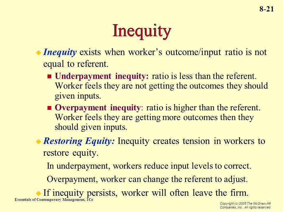 Inequity Inequity exists when worker's outcome/input ratio is not equal to referent.