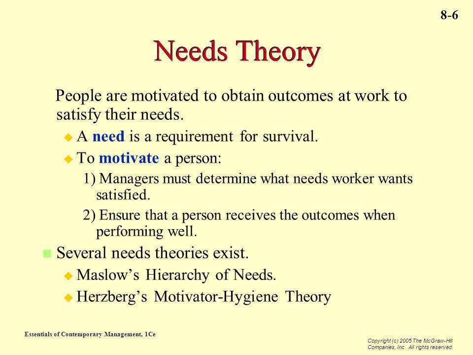 Needs Theory People are motivated to obtain outcomes at work to satisfy their needs. A need is a requirement for survival.