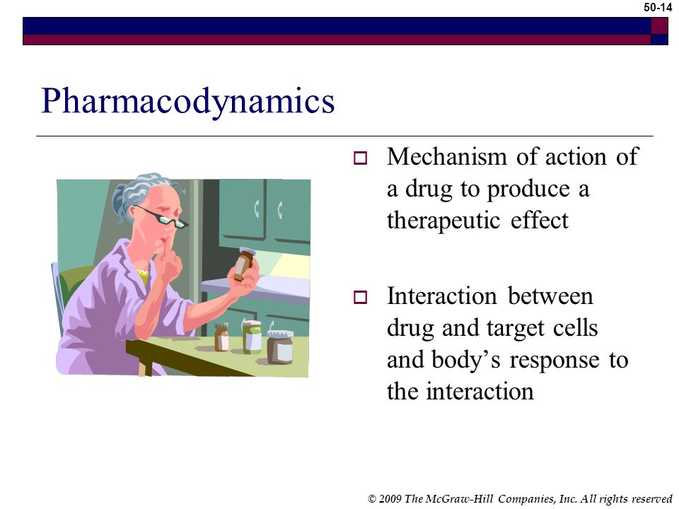 Pharmacodynamics Mechanism of action of a drug to produce a therapeutic effect.