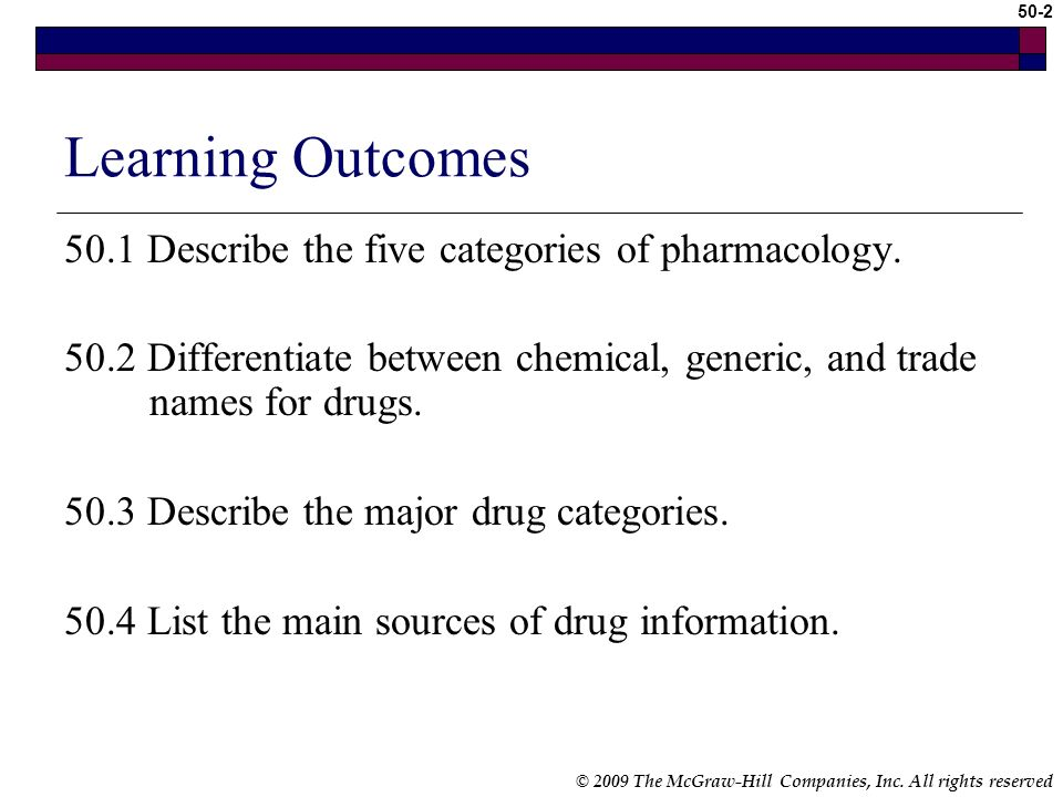 Learning Outcomes 50.1 Describe the five categories of pharmacology.