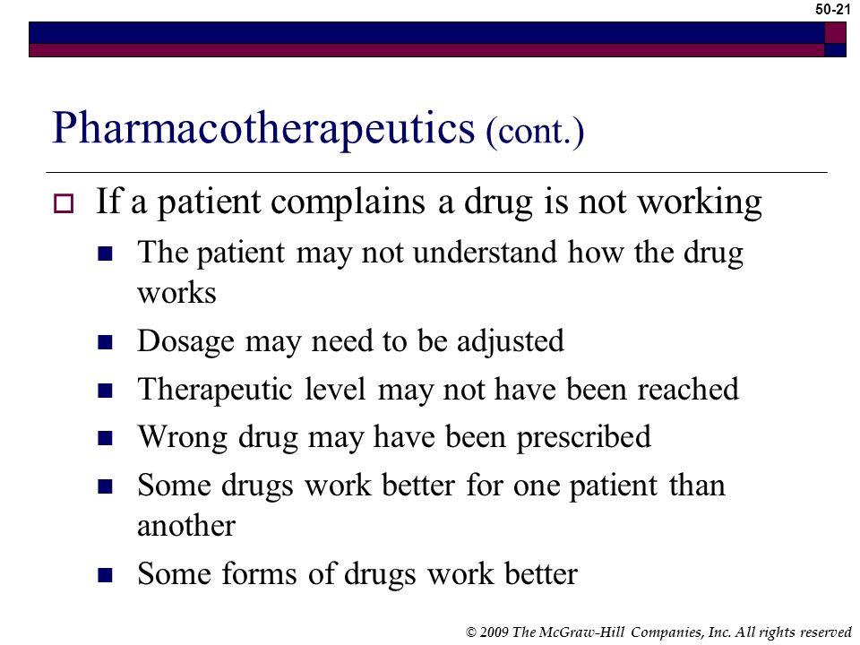 Pharmacotherapeutics (cont.)