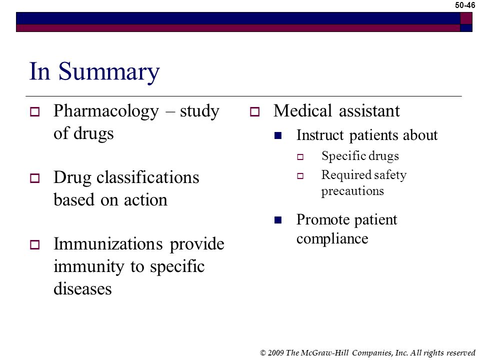 In Summary Pharmacology – study of drugs