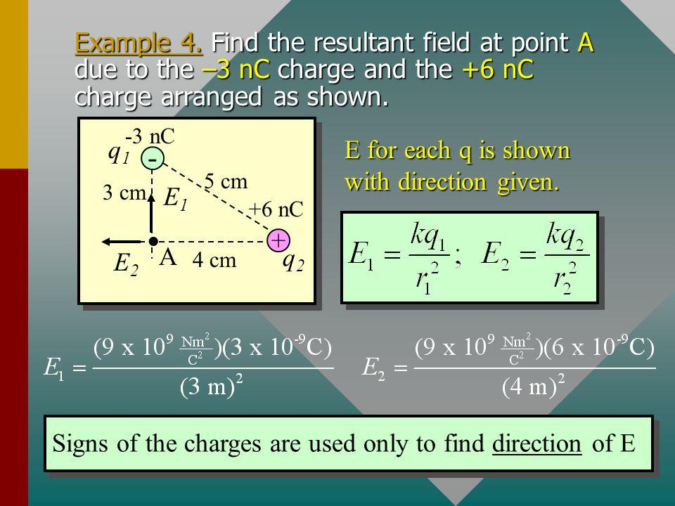 Example 4. Find the resultant field at point A due to the –3 nC charge and the +6 nC charge arranged as shown.