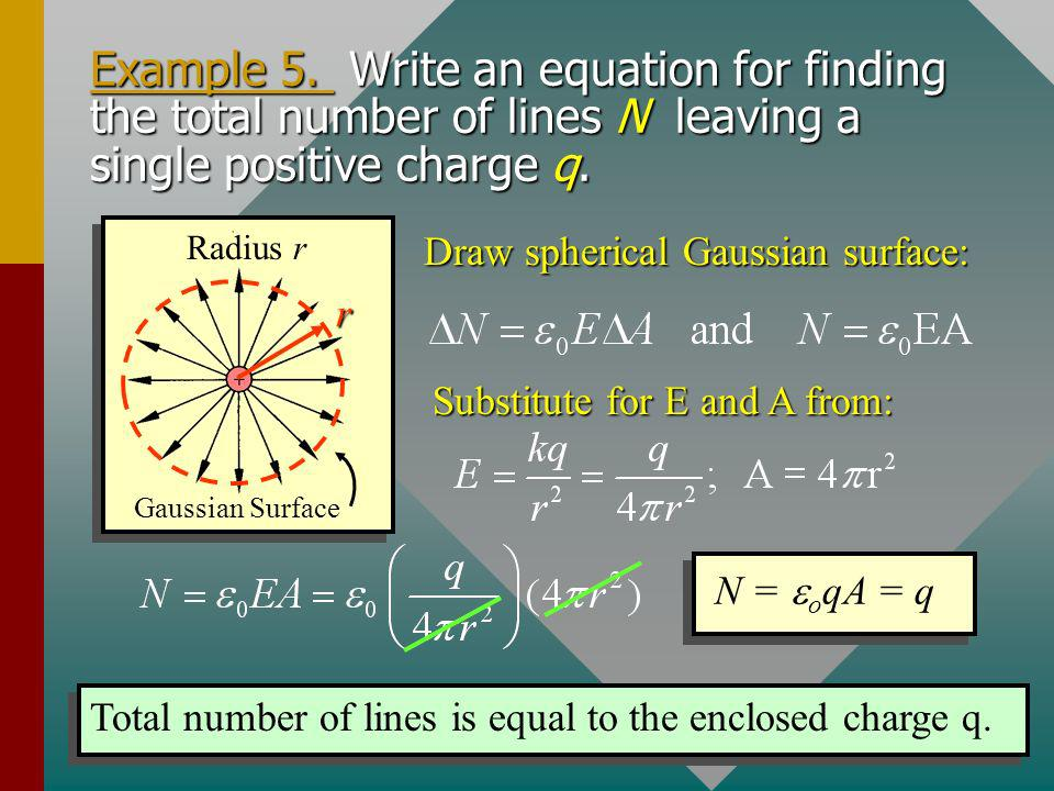Example 5. Write an equation for finding the total number of lines N leaving a single positive charge q.