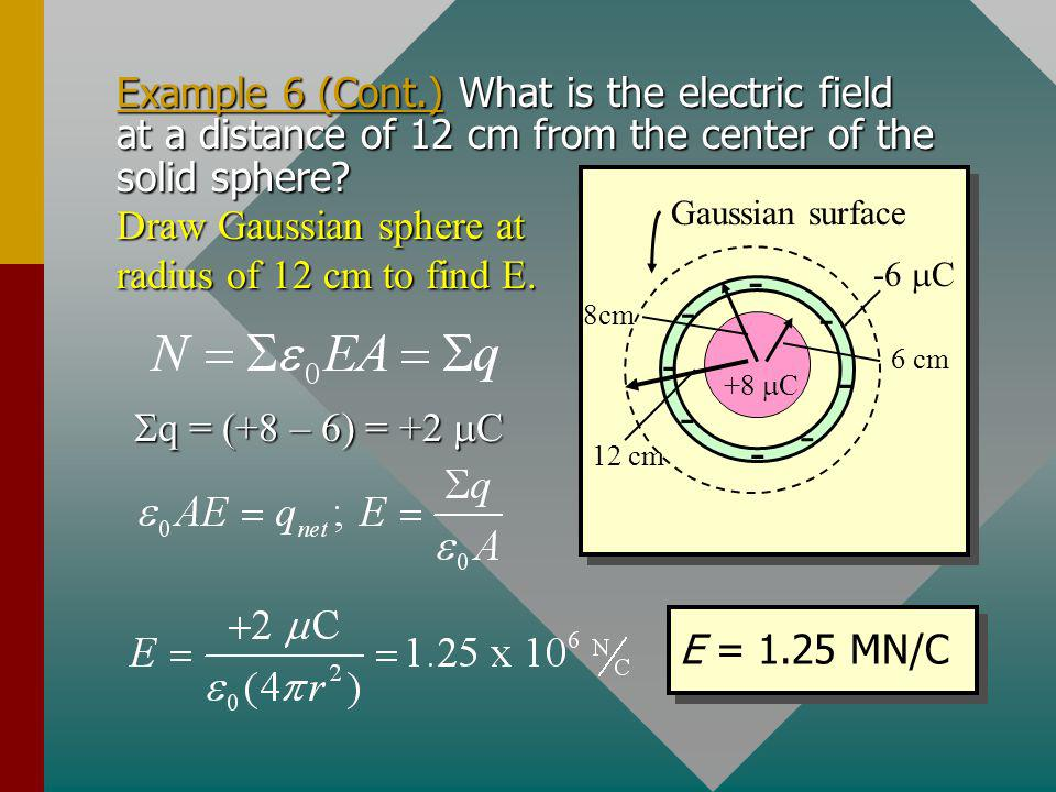 Example 6 (Cont.) What is the electric field at a distance of 12 cm from the center of the solid sphere