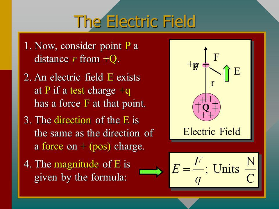 The Electric Field 1. Now, consider point P a distance r from +Q. F +q