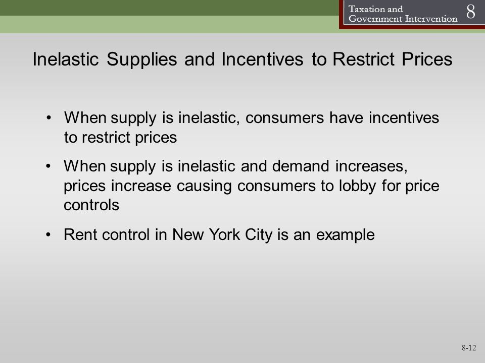 Inelastic Supplies and Incentives to Restrict Prices