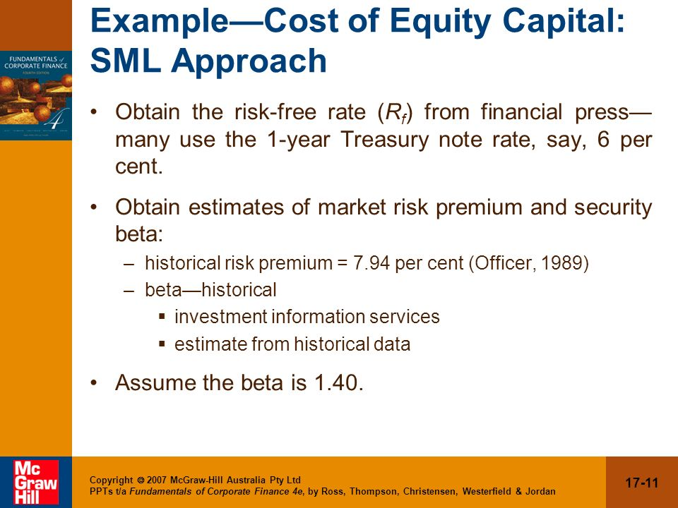 Example—Cost of Equity Capital: SML Approach