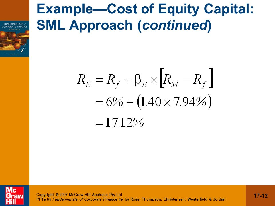 Example—Cost of Equity Capital: SML Approach (continued)