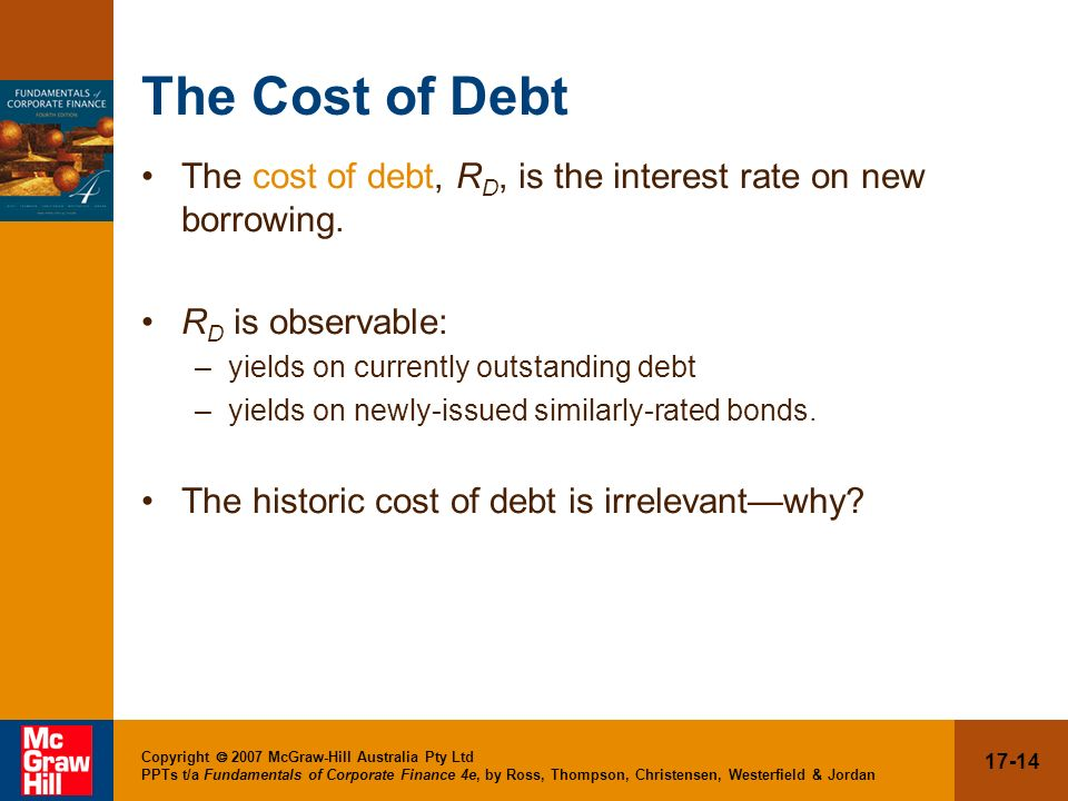 The Cost of Debt The cost of debt, RD, is the interest rate on new borrowing. RD is observable: yields on currently outstanding debt.