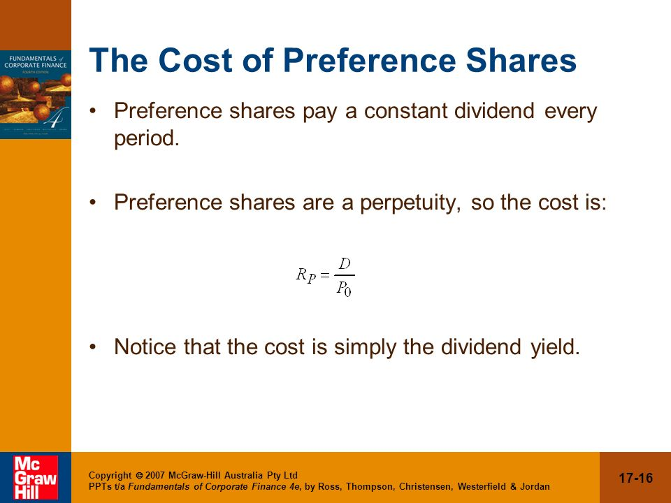 The Cost of Preference Shares