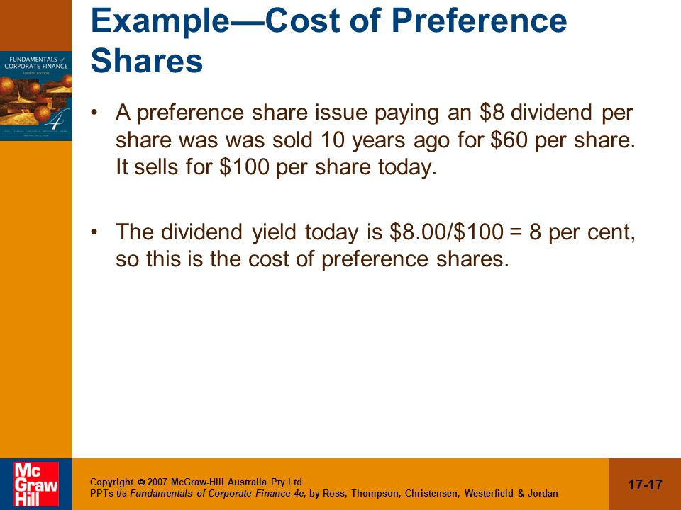 Example—Cost of Preference Shares