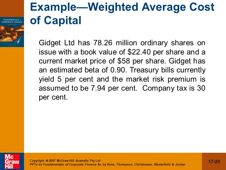 Example—Weighted Average Cost of Capital
