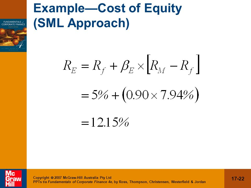 Example—Cost of Equity (SML Approach)