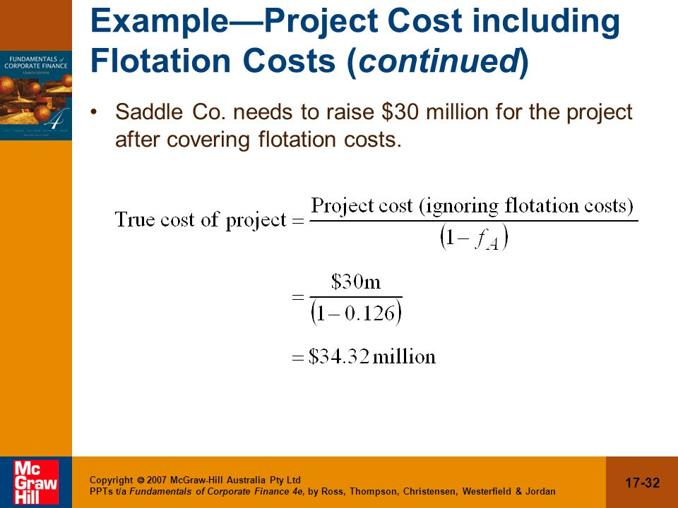 Example—Project Cost including Flotation Costs (continued)