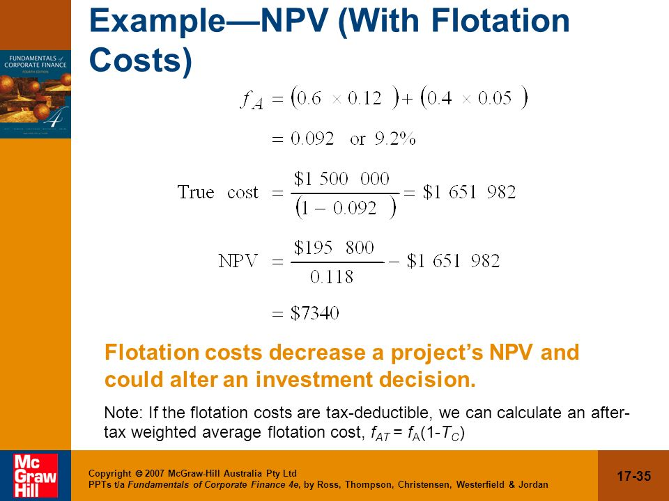 Example—NPV (With Flotation Costs)