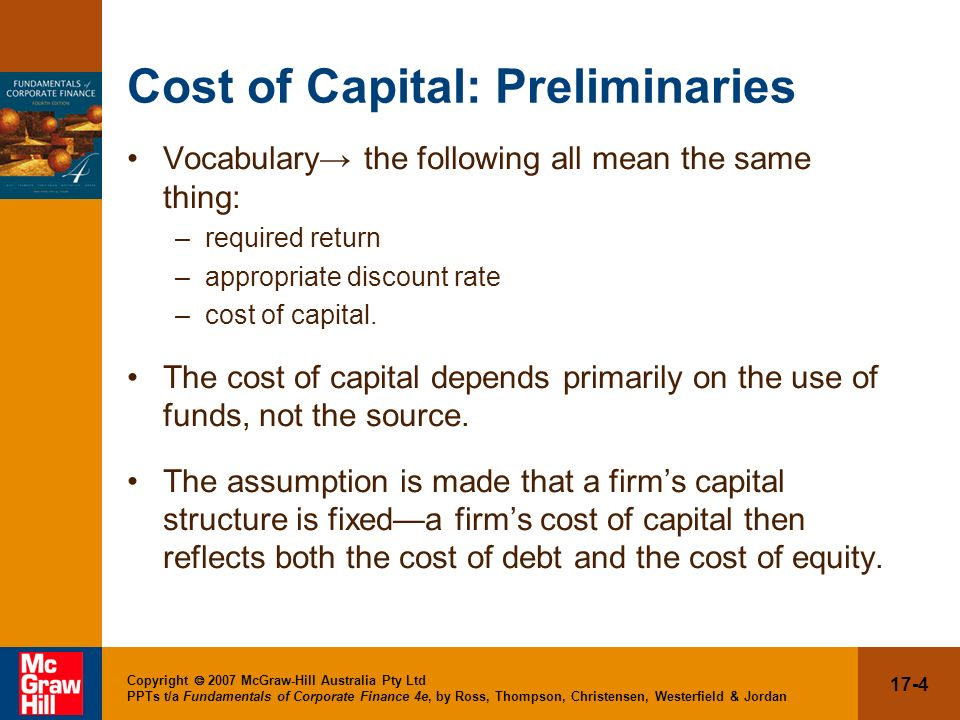Cost of Capital: Preliminaries