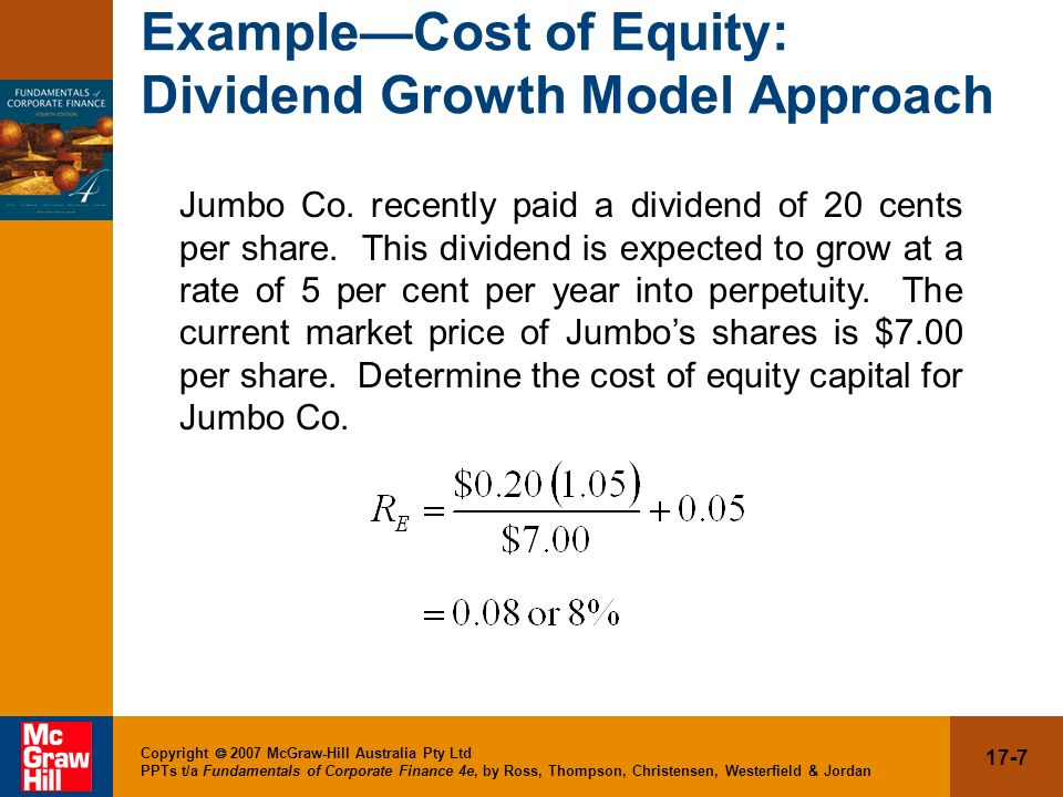 Example—Cost of Equity: Dividend Growth Model Approach