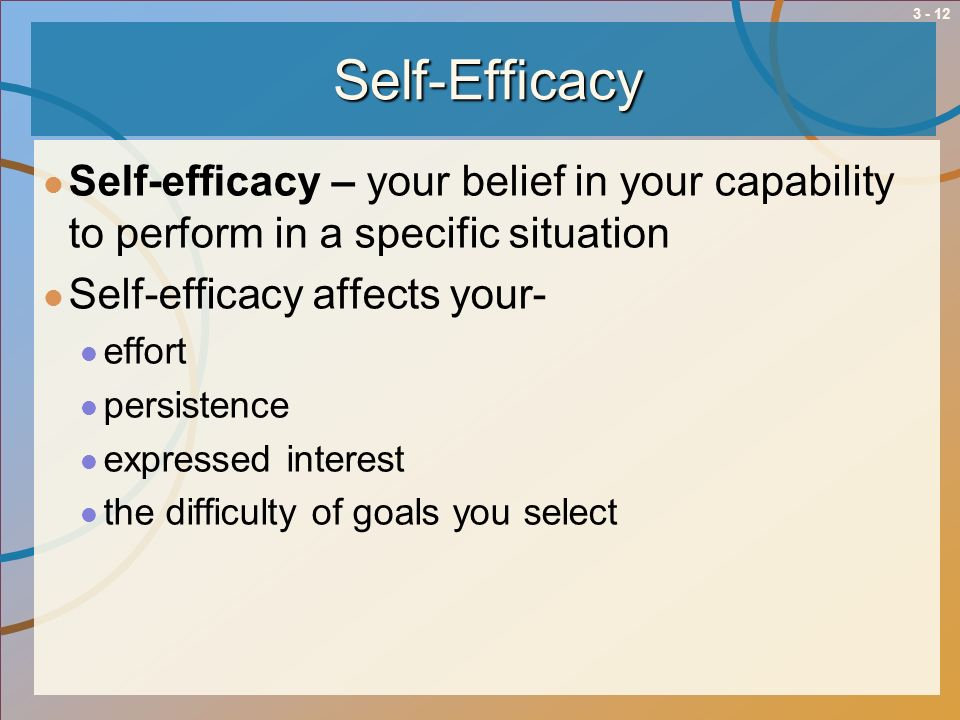 Self-Efficacy Self-efficacy – your belief in your capability to perform in a specific situation. Self-efficacy affects your-
