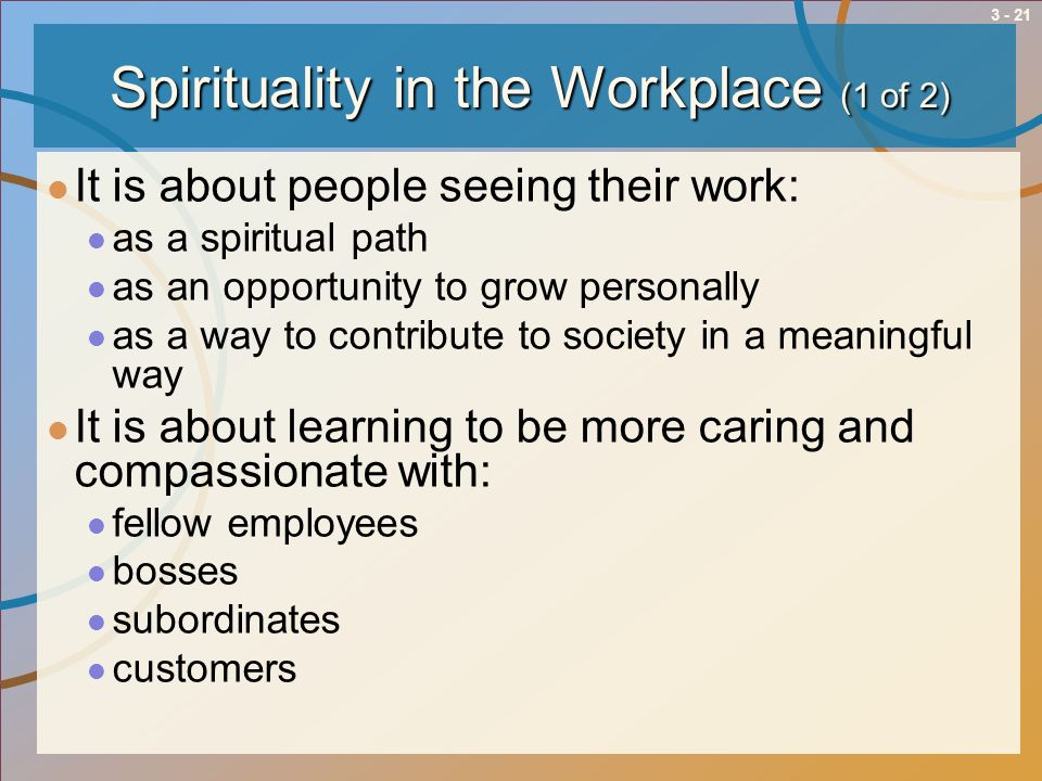 Spirituality in the Workplace (1 of 2)