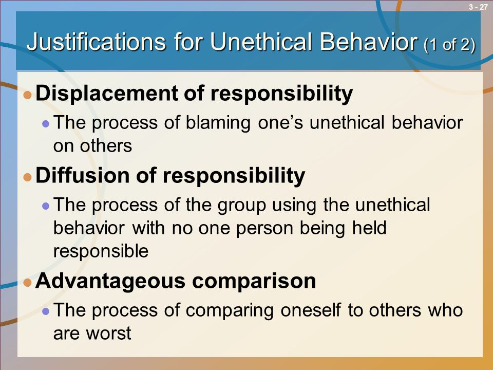 Justifications for Unethical Behavior (1 of 2)