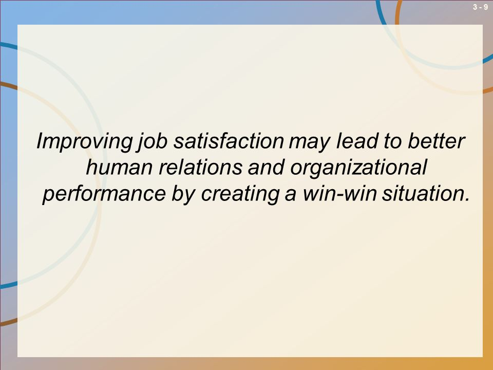 Improving job satisfaction may lead to better human relations and organizational performance by creating a win-win situation.
