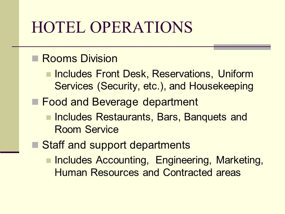 hotel operation Graduates of the program will have the required qualification to work in the hotel  industry sector in the field of hotel operation the prime objective of this training.