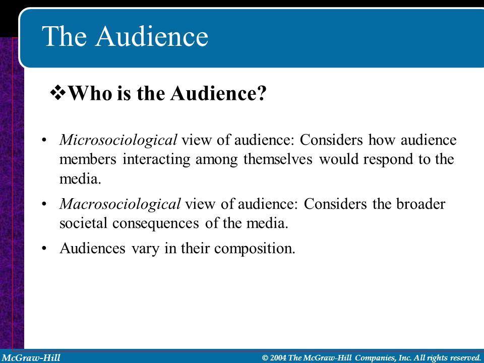 The Audience Who is the Audience