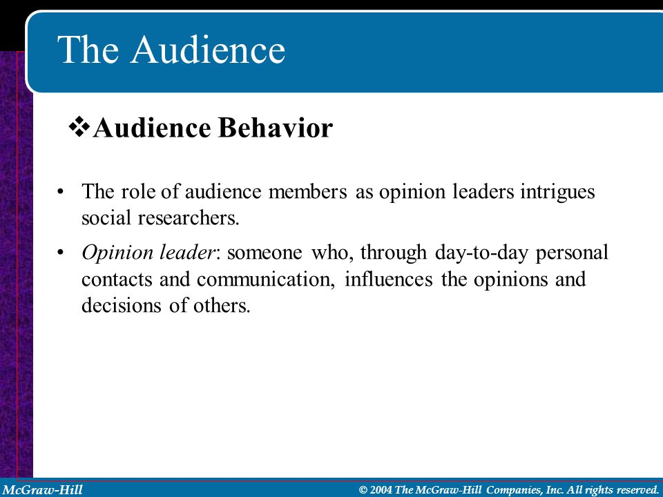 The Audience Audience Behavior