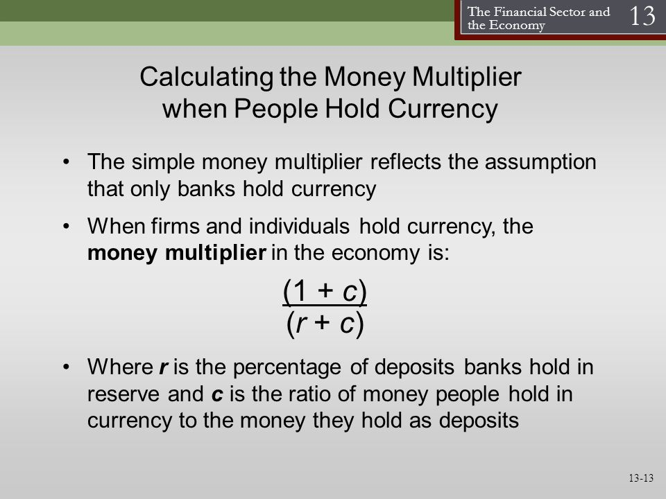 Calculating the Money Multiplier when People Hold Currency