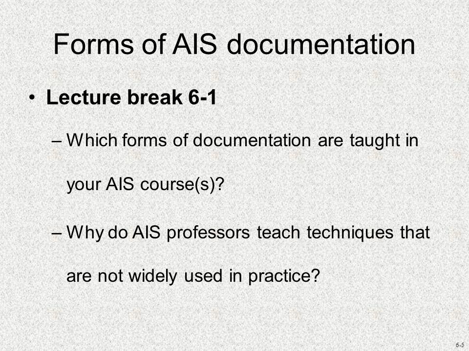 Forms of AIS documentation
