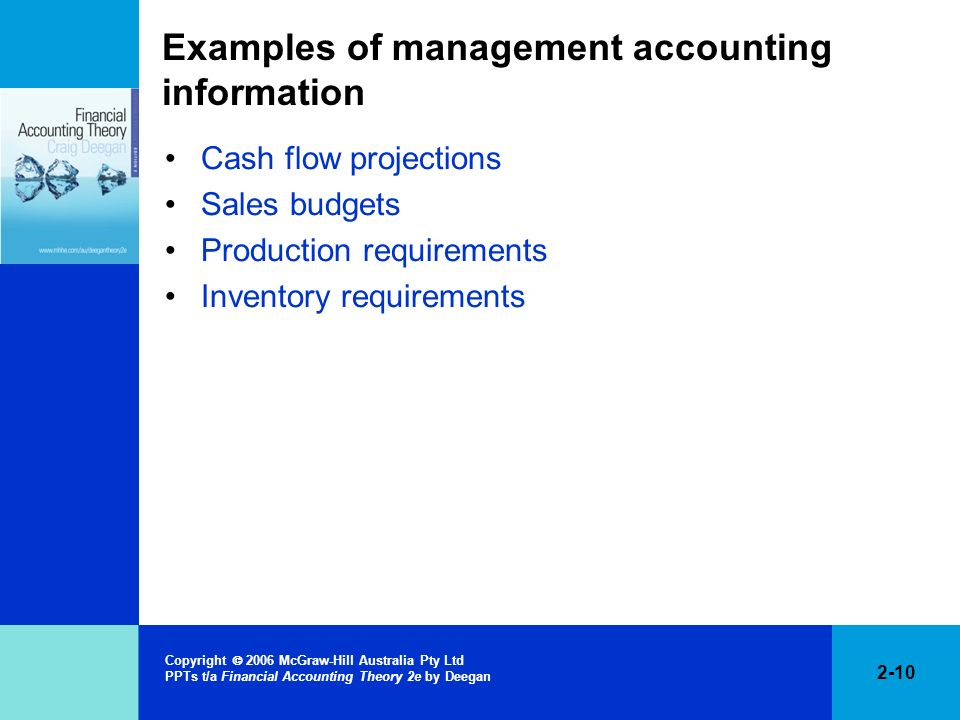 Examples of management accounting information
