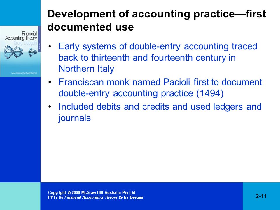 Development of accounting practice—first documented use