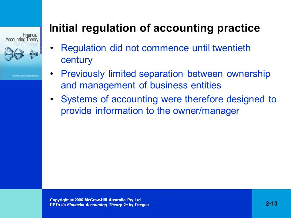 Initial regulation of accounting practice