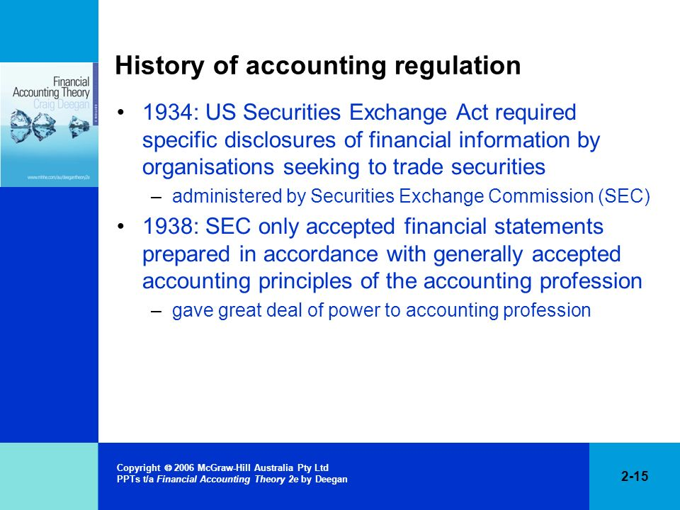History of accounting regulation