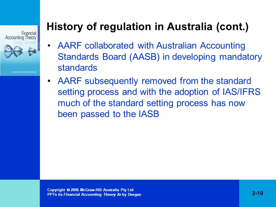 History of regulation in Australia (cont.)