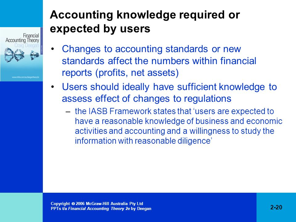 Accounting knowledge required or expected by users