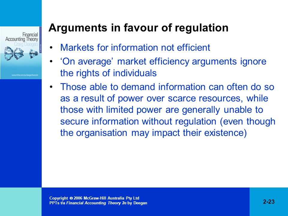 Arguments in favour of regulation