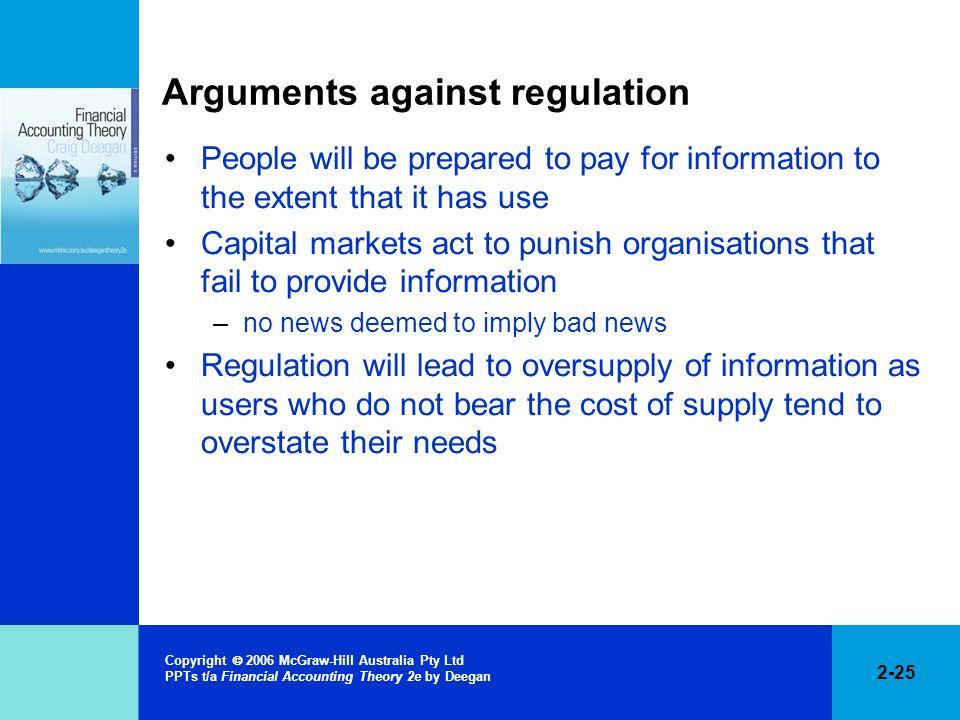 Arguments against regulation