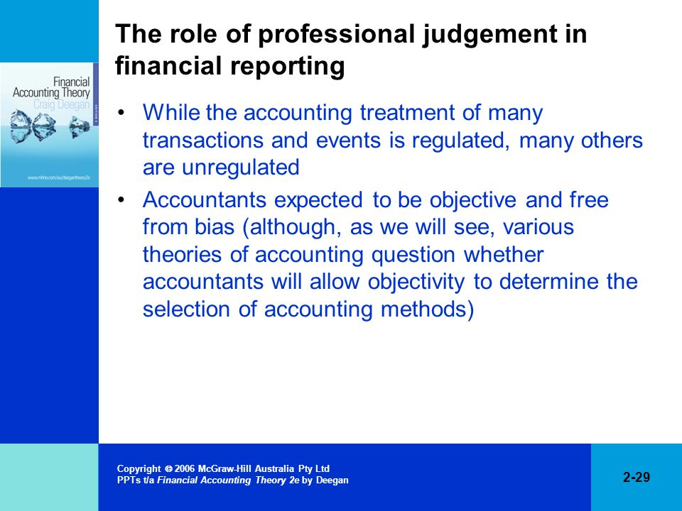 The role of professional judgement in financial reporting