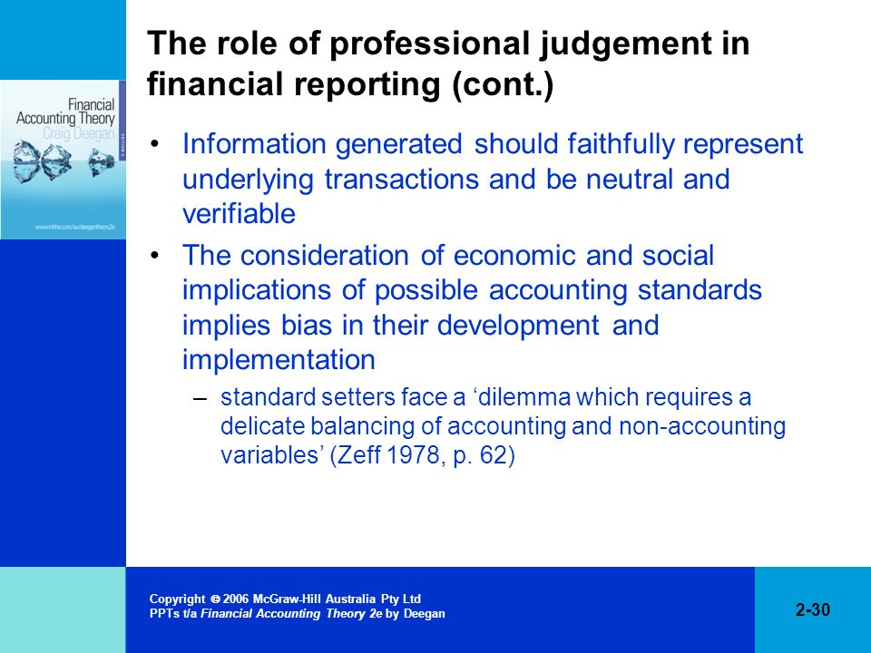 The role of professional judgement in financial reporting (cont.)