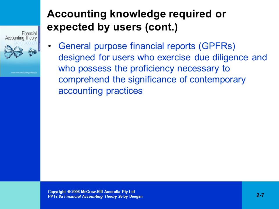 Accounting knowledge required or expected by users (cont.)