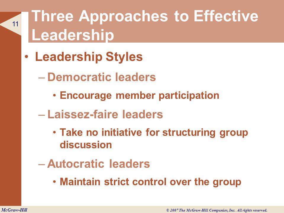 Three Approaches to Effective Leadership